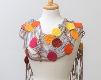 Sale 50% Off Felted Scarf, Merino wool, Khaki wool yarn, red, Brown, Orange, Yellow, Lace, Hole, lattice scarf, felt, yarn