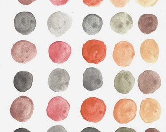 Original Abstract Watercolor Painting - Modern Art - Circles in Shades of Gray and Brown - Zen Art
