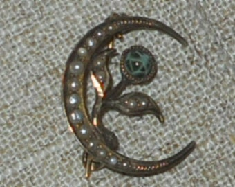 Victorian moon crescent gold seed pearl brooch