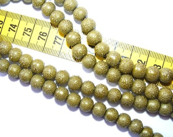 Pearly 6mm Dark Olivine x 25 speckled rounds
