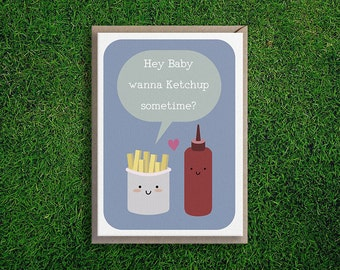 Greeting Cards   Ketchup Sometime card, Love, Romantic, Flirty, Cute & Silly Quirky French Fries Fast Food Card, Blue.