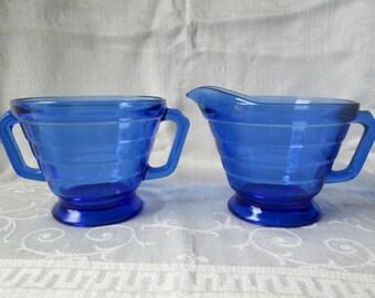 Vintage Cobalt Blue Cream and Sugar Set, Hazel Atlas
