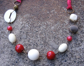 1/2 PRICE SALE Eco-Friendly Statement Necklace - Tugging at My Heart Strings - Silk Ribbon, Recycled Vintage Beads in Red, White and Brass