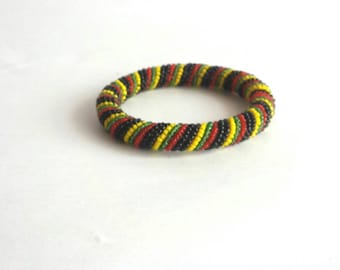 Rasta bead bracelet, Jamaican bracelet, Rasta colors bracelet, red bracelet