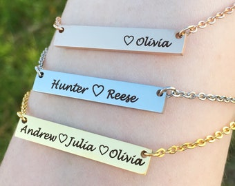 Mother's Bar Necklace - Personalized Children's Name Necklace - Mother's Day Jewelry Gift for Mom - Silver, Rose Gold, Gold Mothers Necklace