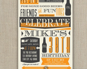 21st, 30th, 40th, 50th, 60th Surprise Beer Birthday Party Invitation