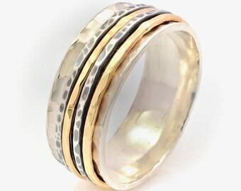 8mm Hammered Spinner Ring, Silver Spinner Ring, Silver and Gold Spinner Ring, Hammered Silver Spinner Ring, Meditation Ring