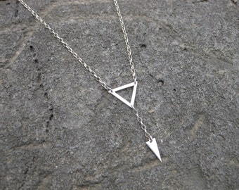 Sterling Silver Double Triangle / Pennant Necklace.
