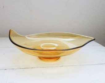Viking art glass, oblong bon bon dish, amber colored, honey colored, mad men era, mid century modern, candy dish, art dish, collectible