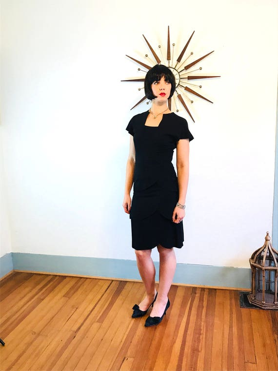 40s black dress, Vintage 40s dress, 40s Art Deco dress, 40s swing dance dress, 1940s peplum dress, Little Black Dress, black pencil dress