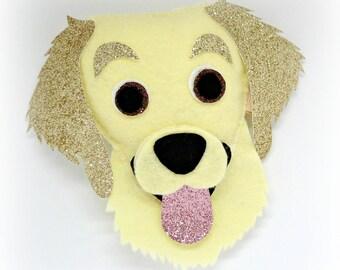 Felt Golden Retriever Labrador - hanging ornament, key fob, bag charm, cake topper, key ring, fridge magnet