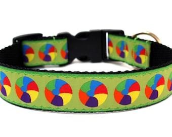 """Summer Dog Collar 1"""" Green Dog Collar Beach Dog Collar"""