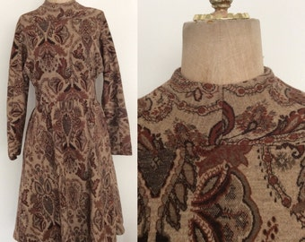 1970's Brown Geoffrey Beene Designer Knit Blend Paisley Print Fit & Flare Size Medium Large by Maeberry Vintage