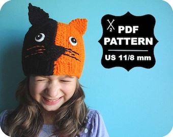 English-French Two Needle KNITTING PATTERN / Digital Download / #47 / Knitted Cat Hat / 6-16M to 5 years-Adult / US11 / 8mm