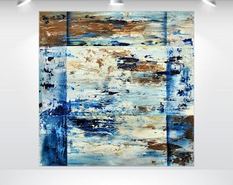acrylic abstract painting large wall art canvas art original blue oversized ready to hang 32 x 32 stretched canvas art Ettis Gallery