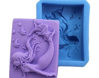mermaid silicone mold - mermaid soap mold - mermaid candle mold - resin mold - chocolate mold - polymer clay mold - 011-001