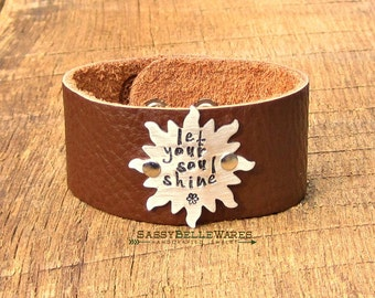 Let Your Soul Shine Sun Leather Bracelet positive saying phrase quote mantra sunshine sunrays cuff brown black positivity hand stamped