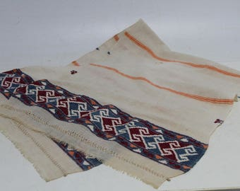Antique authentic old Hand-woven toweling for bread, linen and cotton
