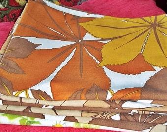 Vintage Bedding, Retro Fabric,Shabby Chic Retro Kitsch Pillowcase Bundle, 4 Vintage Pillowcases, 60s /70s Autumn Bundle Set 1