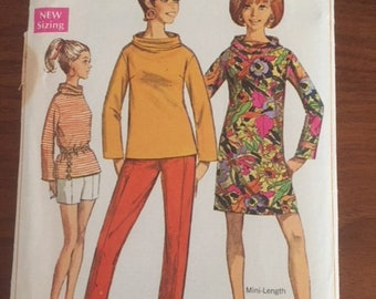 Vintage Simplicity 7444 Mini-dress, Overblouses, and Pants - size 16