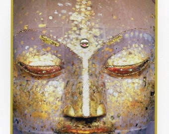 Buddha Head, Hand-Embellished Card