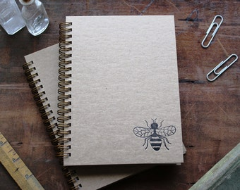 HARD COVER - Bee - Letter pressed 5.25 x 7.25 inch journal