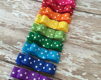 Baby Bow Hair Clips - Polka Dot Hair Clips - Baby Hair Clips - Baby Hair Clip - Set of 3 baby barrettes - Hair Accessories - YOU CHOOSE 3