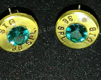 SIG 38 Special nickel bullet shell earrings, Swarovski Birthstone Crystal elements, Surgical steel or Sterling Silver earring post