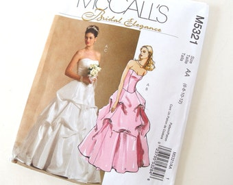 UNCUT 2 Piece Wedding Dress Sewing Pattern, McCalls 5321, Size 6 to 12 Bust 30.5 to  34 Inches