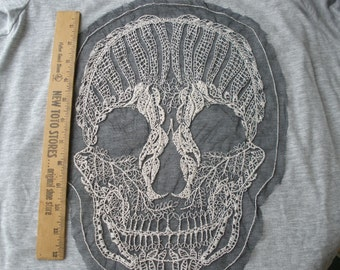 """Embroidered Sugar skull applique black Net Lace 8.5"""" x 12.5"""" large embellish t-shirt retro altered couture day of the dead spooky chic"""