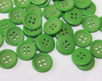 Green buttons, lot of 25 green color round 4 hole 15 mm sewing shirt buttons, craft buttons, green plastic buttons, embellishments