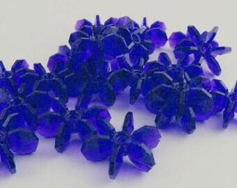 Vintage Plasitc Starflake Beads Sapphire Lot of 50 Medium