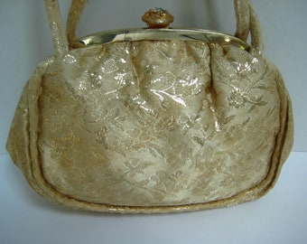 Vintage Gold Handbag, Brocade Clutch, Gold Metallic Thread, Embroidered, circa 1950's, Eco Friendly, Reclaimed Vintage