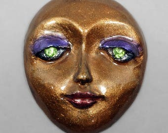 Bronze Face with Green Eyes Polymer Clay Face Cabochon Art Doll Face Purple Eyeshadow Red Lips