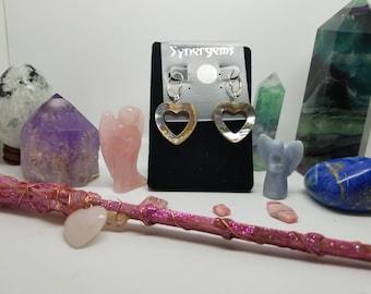 earrings, mother of pearl, heart