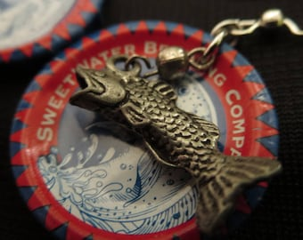 SWEET WATER -- Sweet Water Brewing Bottle Cap Earrings with Fish Charm