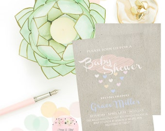 Raining Baby Shower Invitation, Rain Shower Baby Shower, Rustic Baby Shower, Pastel Baby Shower