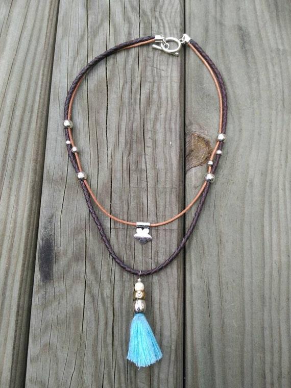 BLUE TASSEL BOHO chic necklace