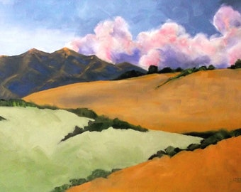 Wine Country Mendocino Hills Painting Impressionist 24x36 CALIFORNIA Plein Air Landscape Art Lynne French O/C