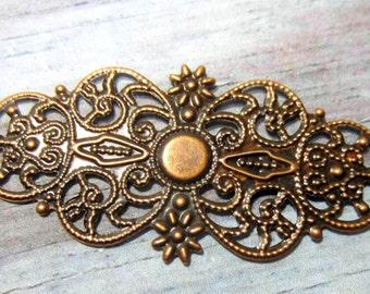 8 Filigree Antique copper  metal flower stampings  jewelry supplies 62mm x 25mm 8sea-SR