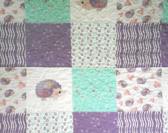 Baby hedgehog crib or lap quilt; lavender and teal, boda be designed fabric
