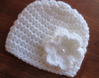 Crocheted Baby Girl Hat with Flower, White Hat with White Flower with Faux Pearl Button, Baby Christening Hat, Newborn to 5T - MADE to ORDER