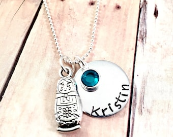 Matryoshka doll charm necklace, charm necklace, doll necklace, gift for her, Russian doll necklace, little girl necklace