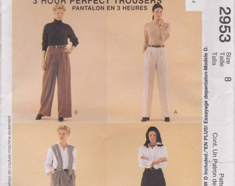 Classic Fit Pants Pattern Size 8  uncut McCalls 2953 - Three Hour Perfect Trousers