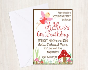 Custom Woodland Fairy Birthday Invite - Fairy Party Invitation - Fairy - Party Supplies