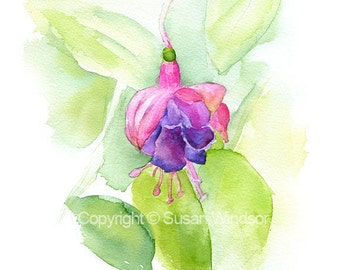 Fuchsia Watercolor - 11 x 14 - Giclee Print - Floral Painting - Flower - Watercolor Print