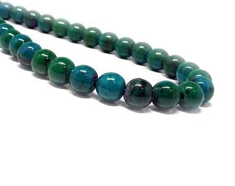 Chrysocolla Necklace, Stone Necklace, 8 mm Chrysocolla Beads,Chrysocolla Stone Necklace,Gemstone Necklace,Azurite Malachite Womens Necklace