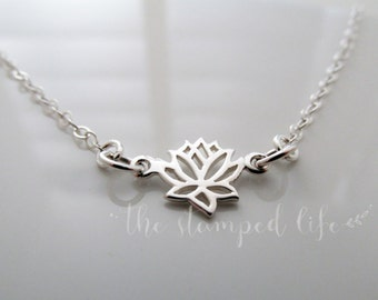 Lotus Sterling Silver Necklace, Charm Necklace, Lotus Flower, Yoga Necklace, Yoga Jewelry
