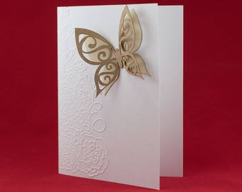 Embossed Cards, Set of 10, Laser cut, Butterflies