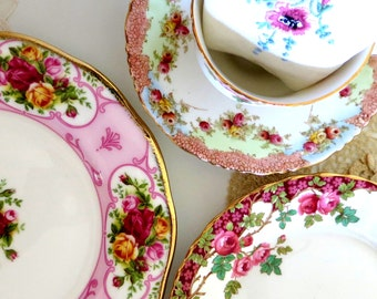 English Rose Garden Tea Set ~ A Mismatched Marriage of Royal Albert, Royal Stafford and Star Paragon